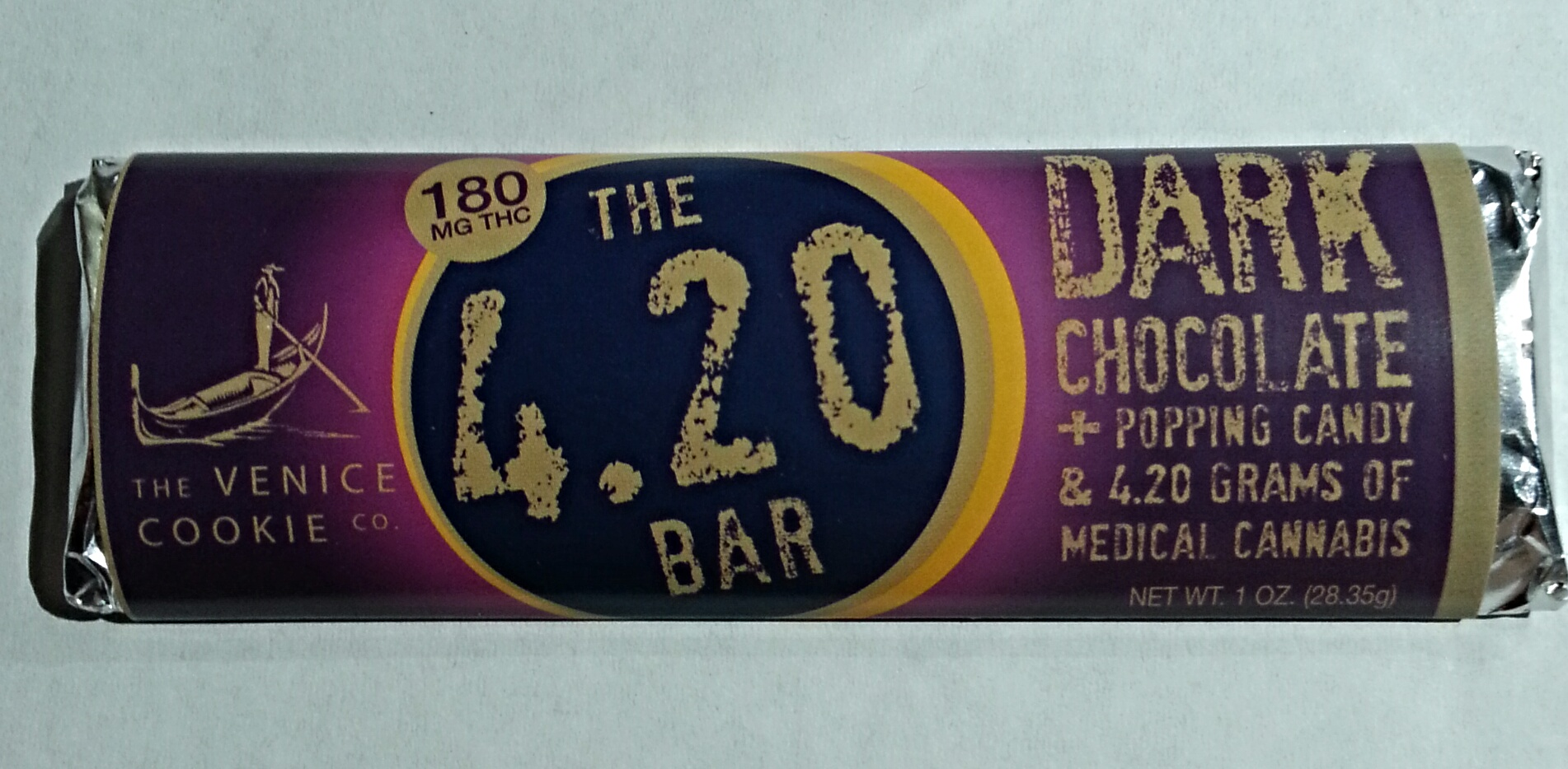 Dark Chocolate and Popping Candy 4.20 Bar from The Venice Cookie Company Edible Review